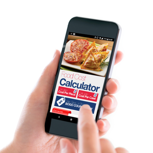 An individual holding a smartphone using the Ajinomoto Windsor app to calculate food cost